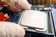 Микропроцессор обломока в руках техника инженера для компьютеров Высокая технология и микросхема ремонта стоковое изображение