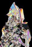 Микроскопический взгляд кристаллов азотнокислого калия в поляризовыванном ligh Стоковая Фотография