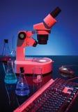 микроскоп клавиатуры стоковое фото