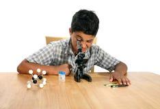 микроскоп мальчика стоковые фото