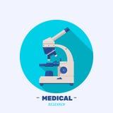 Микроскоп логотипа Знак исследования, творческая иллюстрация дизайна Плоский значок круга вектора с длинной тенью Стоковые Фото