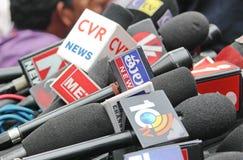 Микрофоны различных каналов средств массовой информации, Индии Стоковое Изображение