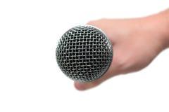 Микрофон близкий вверх в руке, mic стоковое изображение rf