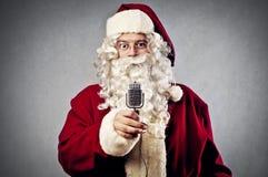 Микрофон Дед Мороз Стоковое фото RF