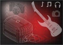 Микрофон и камера гитары Стоковые Фото