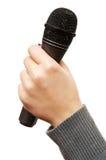 микрофон караоке руки стоковое изображение