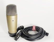 Микрофон конденсатора на белой предпосылке Стоковые Фотографии RF
