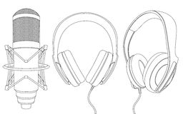 микрофон наушников Стоковое Изображение RF