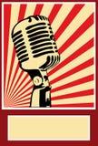 Микрофон плаката музыки Стоковое Изображение