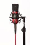 Микрофон студии на белизне стоковое фото rf