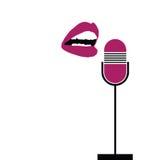 Микрофон с губами поет вектор Стоковое Изображение