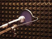 Микрофон с windbreak в студии Стоковая Фотография RF