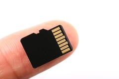 Микро- карта памяти SD с пальцем Стоковая Фотография RF