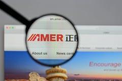 Милан, Италия - 10-ое августа 2017: Вебсайт интернациональной бригады Amer стоковые изображения rf