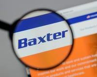 Милан, Италия - 10-ое августа 2017: Логотип Baxter международный на стоковое изображение rf