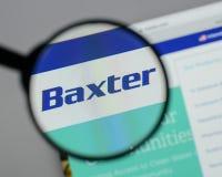 Милан, Италия - 10-ое августа 2017: Логотип Baxter международный на стоковое фото rf