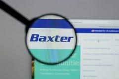 Милан, Италия - 10-ое августа 2017: Логотип Baxter международный на стоковое изображение