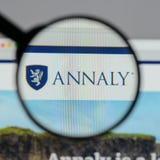Милан, Италия - 10-ое августа 2017: Логотип o управления капиталом Annaly Стоковое Изображение