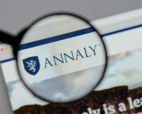 Милан, Италия - 10-ое августа 2017: Логотип o управления капиталом Annaly Стоковое Изображение RF