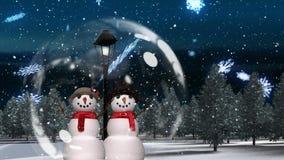 Милая анимация рождества пар снеговика в волшебном лесе сток-видео