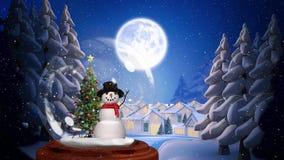 Милая анимация рождества снеговика и дерева бесплатная иллюстрация
