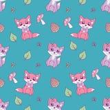 Милая безшовная животная картина для дизайнов детей с пастельными розовыми и фиолетовыми лисами, листьями и грибами на ярком back иллюстрация штока