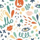 Милая безшовная картина вектора с глазами, губами, словами иллюстрация штока