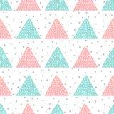 Милая безшовная картина для детей Треугольники и круглые пятна Нарисовано вручную иллюстрация вектора