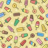 Милая безшовная картина лета с backgr мороженого плодоовощ разнообразия иллюстрация штока