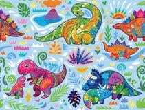 Милая безшовная картина с динозаврами мамы и младенца и тропическими заводами r иллюстрация штока