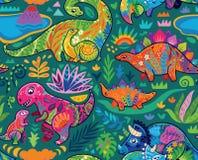 Милая безшовная картина с динозаврами мамы и младенца и тропическими заводами r иллюстрация вектора