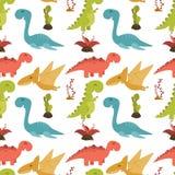 Милая безшовная картина с динозаврами шаржа красочными Стоковая Фотография