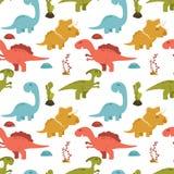Милая безшовная картина с динозаврами шаржа красочными Стоковое Изображение RF