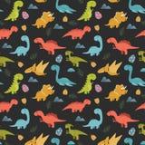Милая безшовная картина с динозаврами шаржа красочными Стоковые Изображения