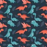 Милая безшовная картина с динозаврами шаржа красочными Стоковое Фото