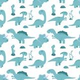 Милая безшовная картина с динозаврами шаржа Стоковая Фотография RF