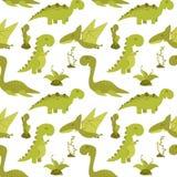 Милая безшовная картина с динозаврами шаржа Стоковое фото RF