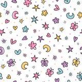 Милая безшовная картина с нарисованными рукой элементами шаржа для детей Предпосылка в скандинавском стиле Большой для дня рожден иллюстрация штока