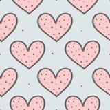 Милая безшовная картина с повторять сердца и круглые точки Нарисованный вручную, эскиз, doodle иллюстрация штока