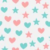 Милая безшовная картина с сердцами и звездами Нарисовано вручную бесплатная иллюстрация
