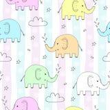 Милая безшовная картина с смешным слоном также вектор иллюстрации притяжки corel Стоковые Фотографии RF