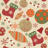 Милая безшовная картина с стилизованными украшениями рождества иллюстрация штока