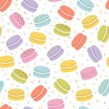 Милая безшовная картина с французскими macaroons Предпосылка руки вычерченная со сладкими очень вкусными десертами Свежая пекарня стоковые изображения rf