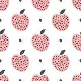 Милая безшовная картина с яблоками и точками польки Нарисовано вручную бесплатная иллюстрация