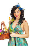 милая весна девушки цветков Стоковое фото RF