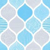 Милая голубая и белая картина Печать лета для тканей Волнистое оранжевое иллюстрация вектора