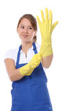 милая горничная перчаток Стоковое фото RF