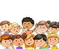 Милая группа детей счастливо развевает их руки иллюстрация штока