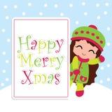 Милая девушка говорит здравствуйте! под падением снега соответствующим для рождественской открытки Стоковые Фото