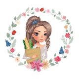 Милая девушка держа бакалеи Здоровая еда еды нарисованный рукой венок цветка травяной иллюстрация штока